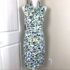 London Times Cotton Sleeveless Floral Print Dress